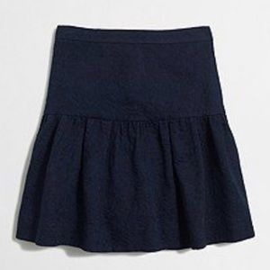 J Crew | Mini Skirt Drop Waist Floral Brocade Navy